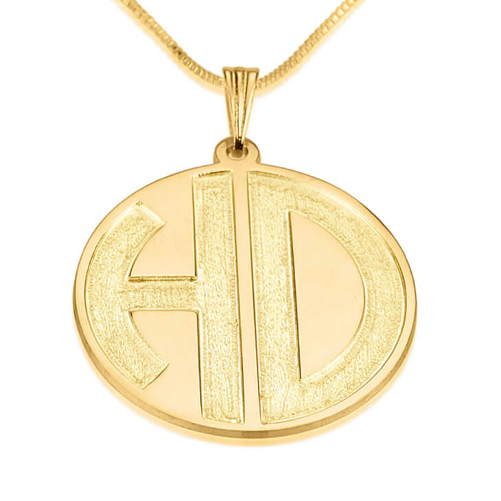 24k Gold Plated Sparkling 2 Letters Monogram Necklace