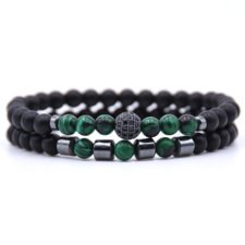 Mens Double Beaded Bracelet