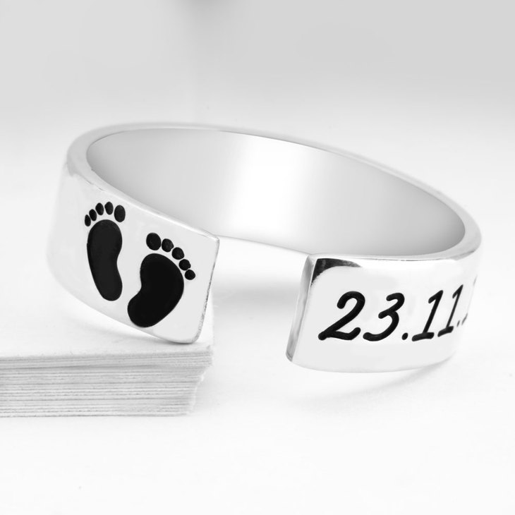 Custom Baby Footprint Ring - Picture 2