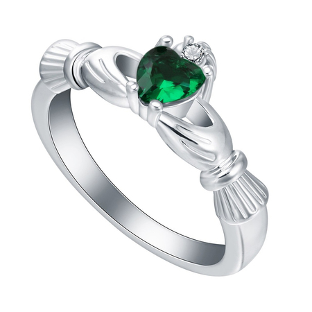 Green Claddagh Ring