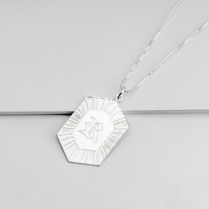 Hexagon Initial Necklace - Picture 2