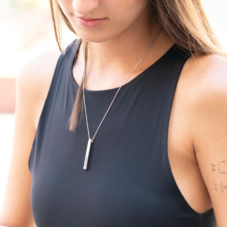 Engraved 3D Bar Necklace - Model