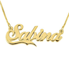14K Gold Classic Name Necklace With Small Line