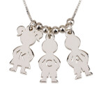 Sterling Silver Mother's Necklace Boy And Girl - Thumb