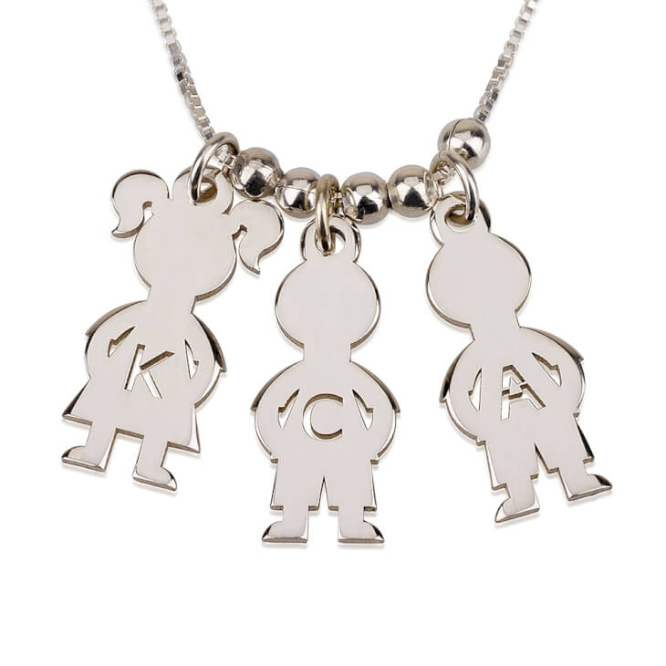 Sterling Silver Mother's Necklace Boy And Girl