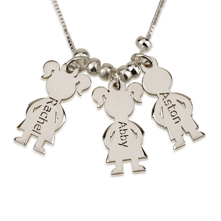 Sterling Silver Mother's Necklace Boy And Girl  - Picture 2