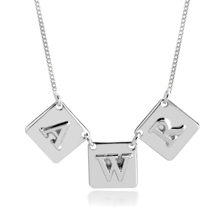 Square Initial Necklace - Picture 2