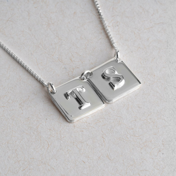 Square Initial Necklace - Information