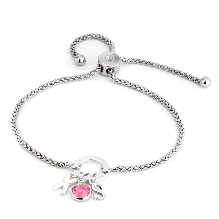 Breast Cancer Charm Initial Bracelet