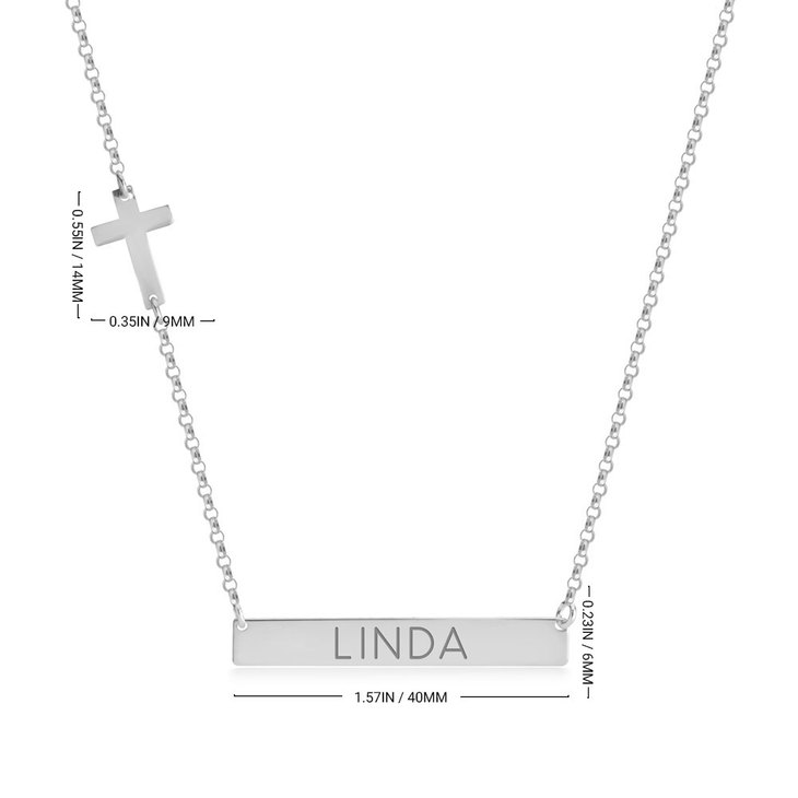 Bar Necklace with Cross Charm - Information