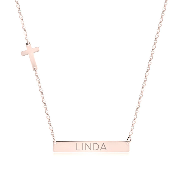 Bar Necklace with Cross Charm