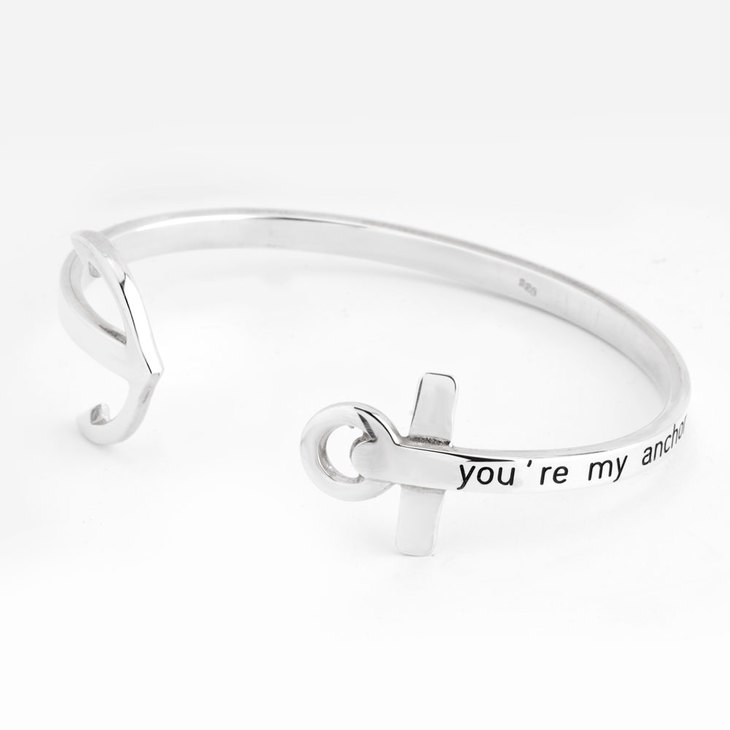Personalized Anchor Bangle - Picture 2