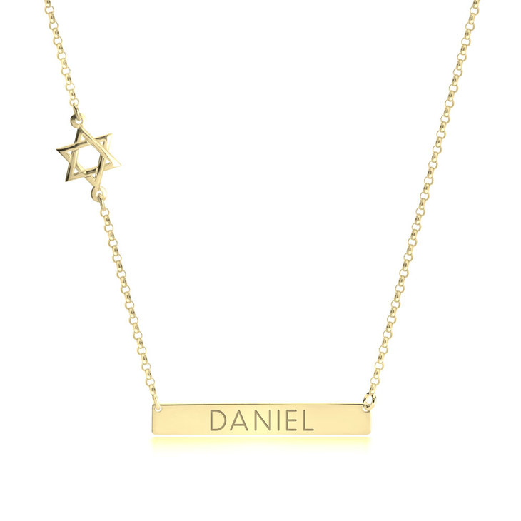 Bar Necklace with Star of David Charm