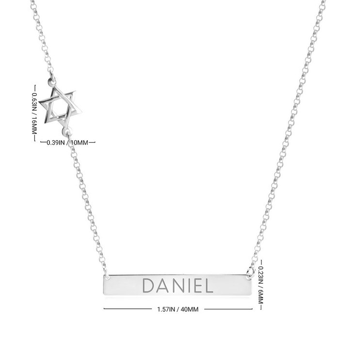 Bar Necklace with Star of David Charm - Information