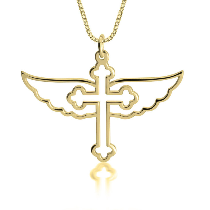 Cross with Angel Wings Necklace