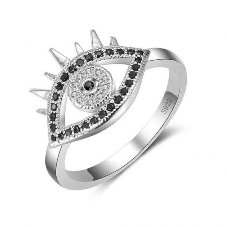 Black Zirconia Evil Eye Ring