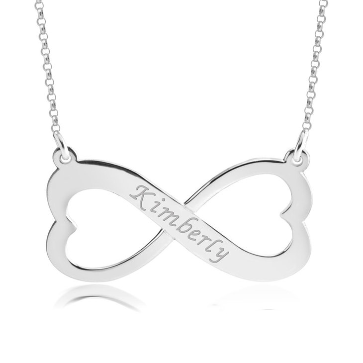 Engraved Heart Infinity Necklace