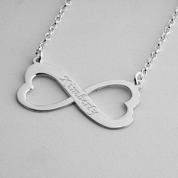 Engraved Heart Infinity Necklace - Picture 2