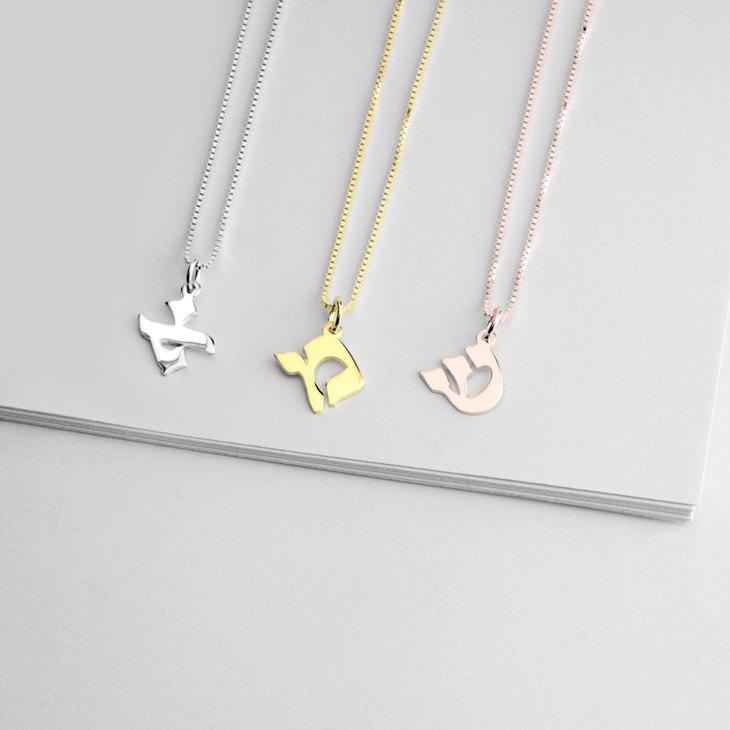 Hebrew Letter Necklace - Model