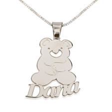 Sterling Silver Teddy Bear Pendant with Name