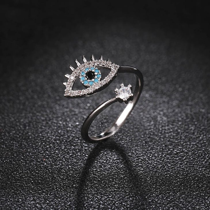 Two Layer Turquoise Evil Eye Ring - Picture 3