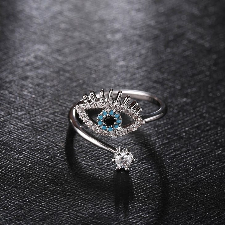 Two Layer Turquoise Evil Eye Ring - Picture 4