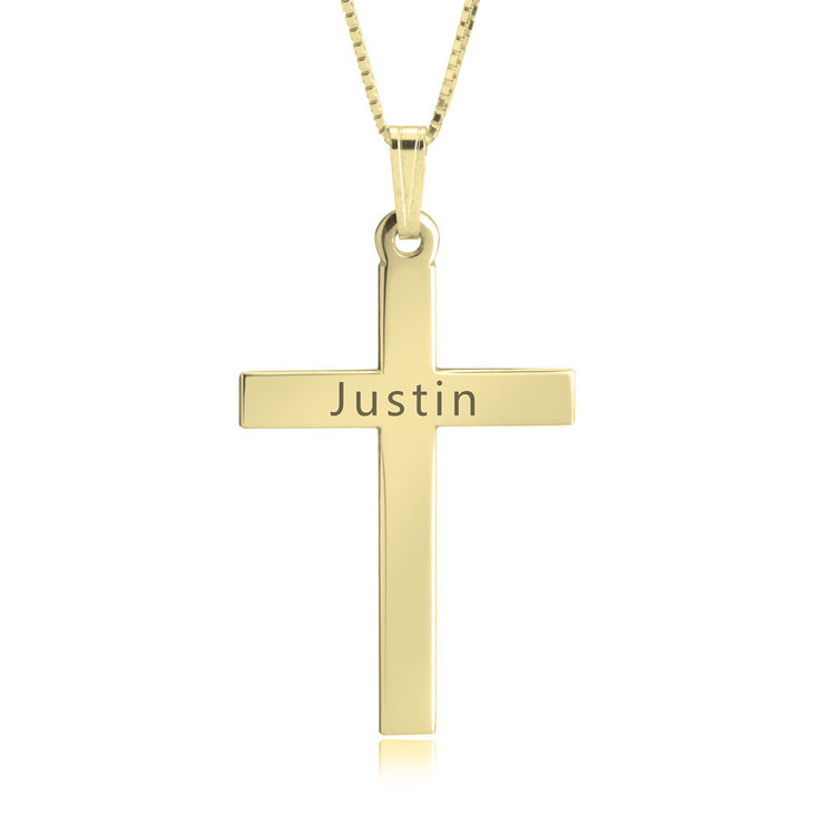 Delicate Engraved Cross Necklace