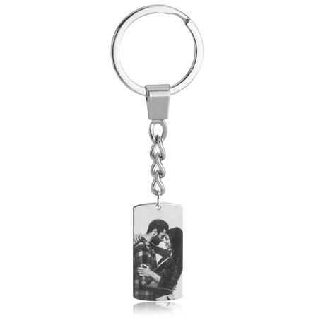 Dog Tag Picture Keychain