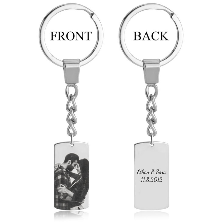 Dog Tag Picture Keychain - Picture 2