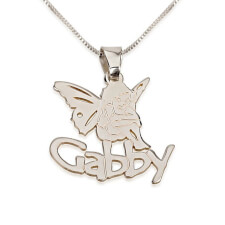 Sterling Silver Angel Pendant with Name