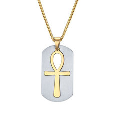 Egyptian Cross Dog Tag Necklace