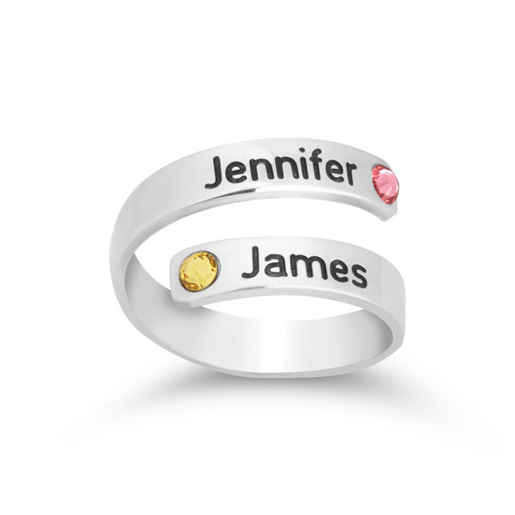 Couple Birthstone Name Ring