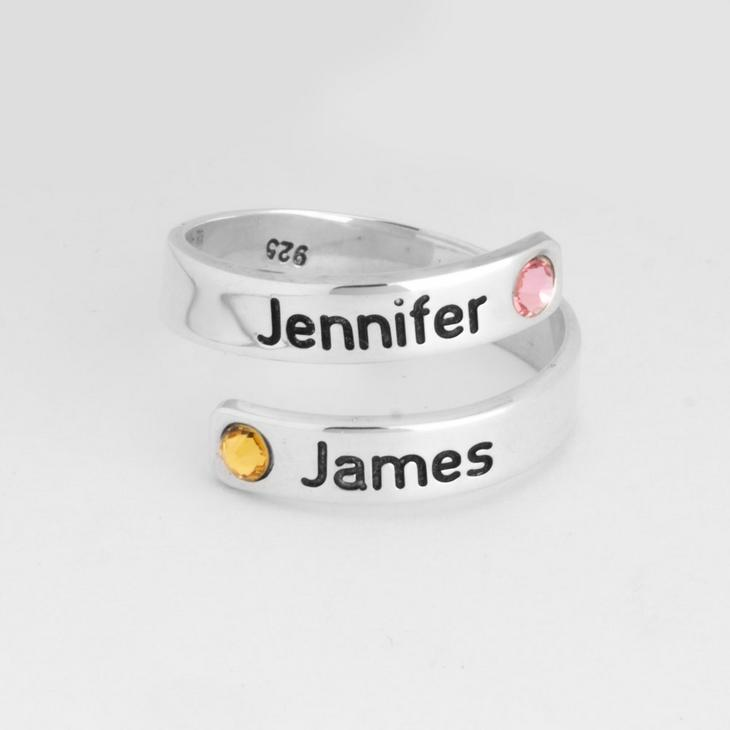 Couple Birthstone Name Ring - Picture 2