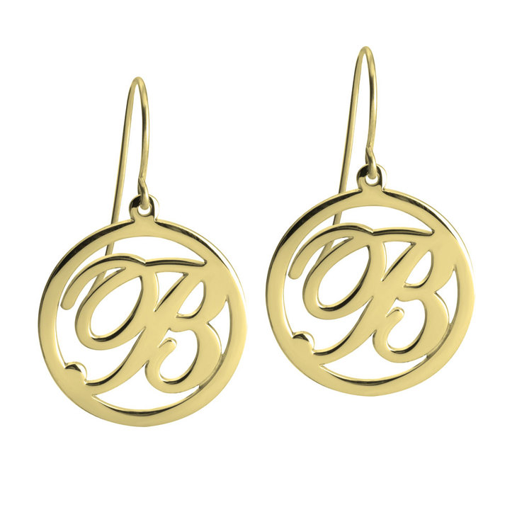 Cut Out Initial Drop Earrings