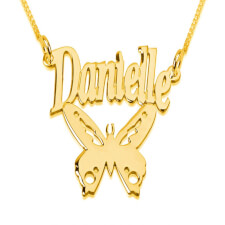 24k Gold Plated Butterfly Name Necklace Pendant