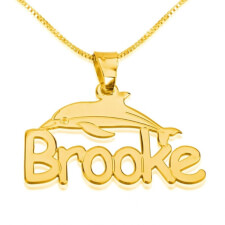24k Gold Plated Dolphin Pendant with Name