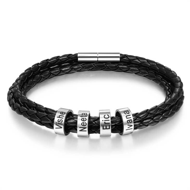Braided Leather Bracelet for Men - Picture 3
