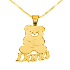 24k Gold Plated Teddy Bear Pendant with Name