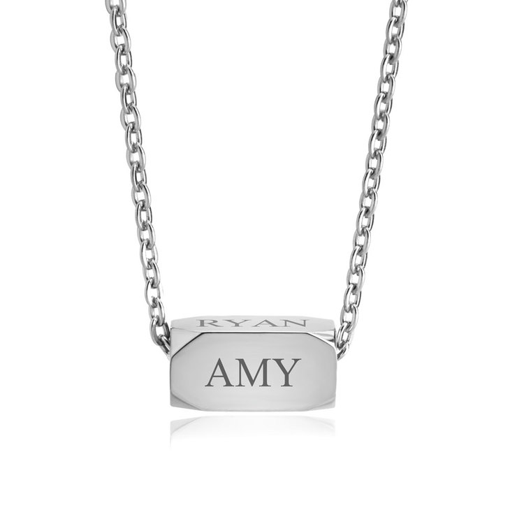 Engraved Spinning Bar Necklace