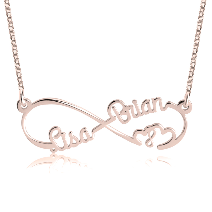 Double Heart and Double Infinity Necklace