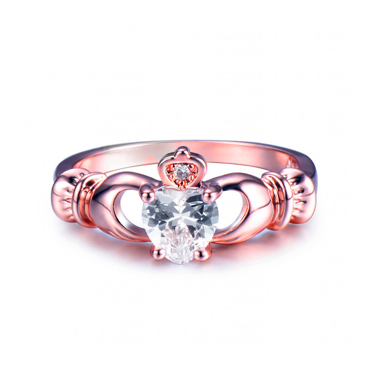 Rose Gold Claddagh Ring - Picture 2