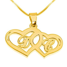 24k Gold Plated Initials Necklace with Two Hearts