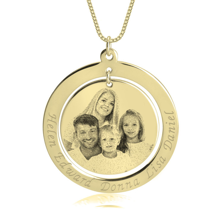 Family Picture Necklace with Names