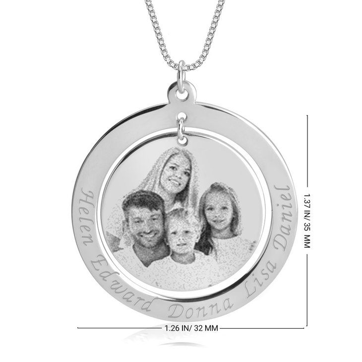Family Picture Necklace with Names - Information