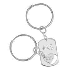 Dog Tag Couple Keychain