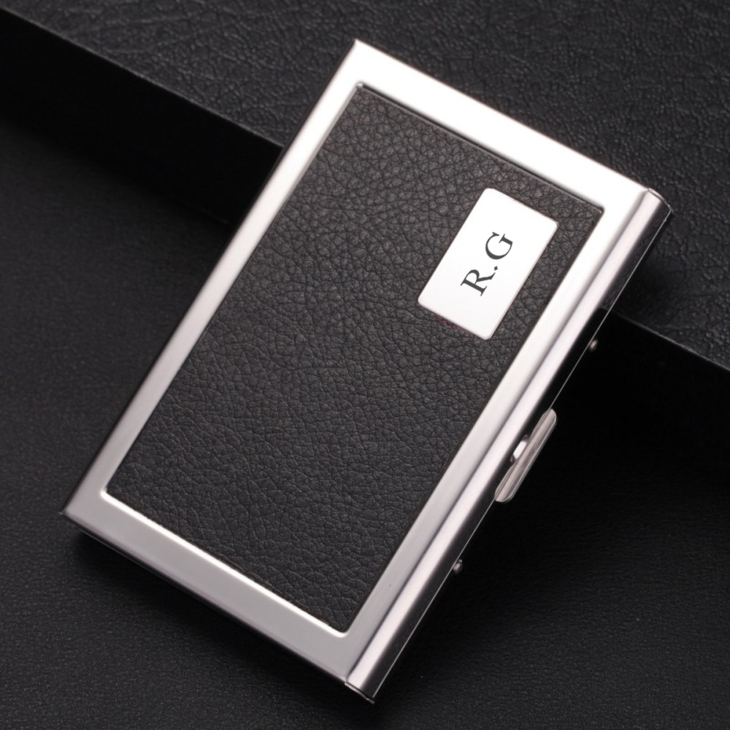Personalized Leather & Metal Card Holder - Picture 4
