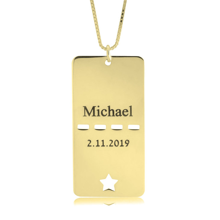 Dog Tag Name & Date Necklace
