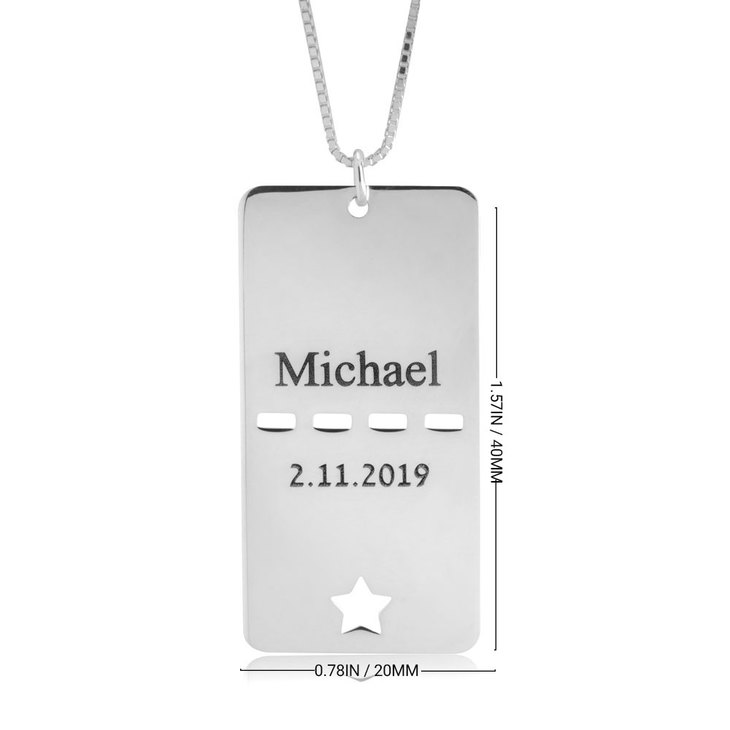 Dog Tag Name & Date Necklace - Information