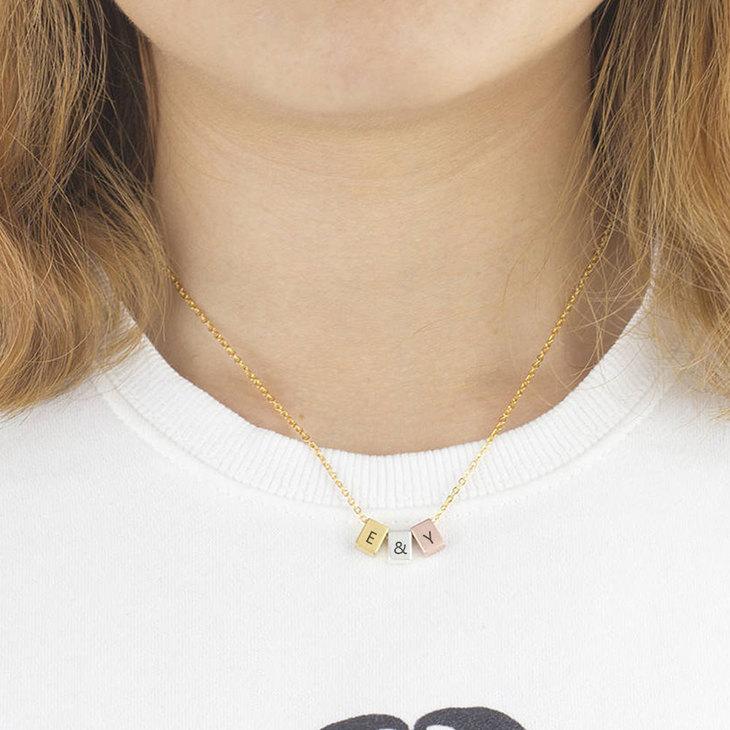 Three Tone Minimalist Necklace - Model