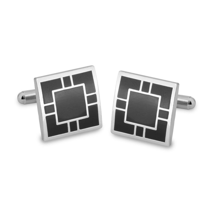 Square Black & Silver Cufflinks